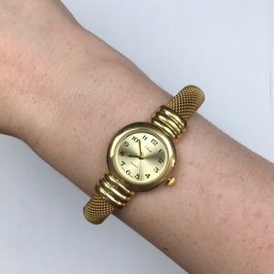 Vtg yellow gold cuff bracelet watch quartz Japan